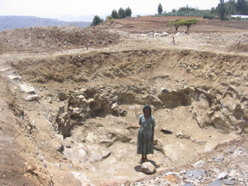Yeshimebet Kifle dug this water collection pit by hand with some help from her husband.  She has started to grow carrots, onions, and beets